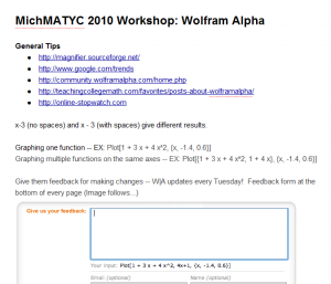 Image of Google Doc for Wolfram Alpha Workshop